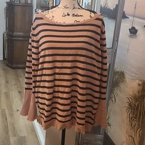 Pink Striped Lane Bryant Bell Sleeve Knit Sweater